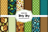 Fototapeta Dinusie - Cute set of childish seamless patterns with dinosaurs ideal for fabrics, wallpaper and different surfaces