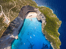 Aerial  View Of Navagio Beach ...