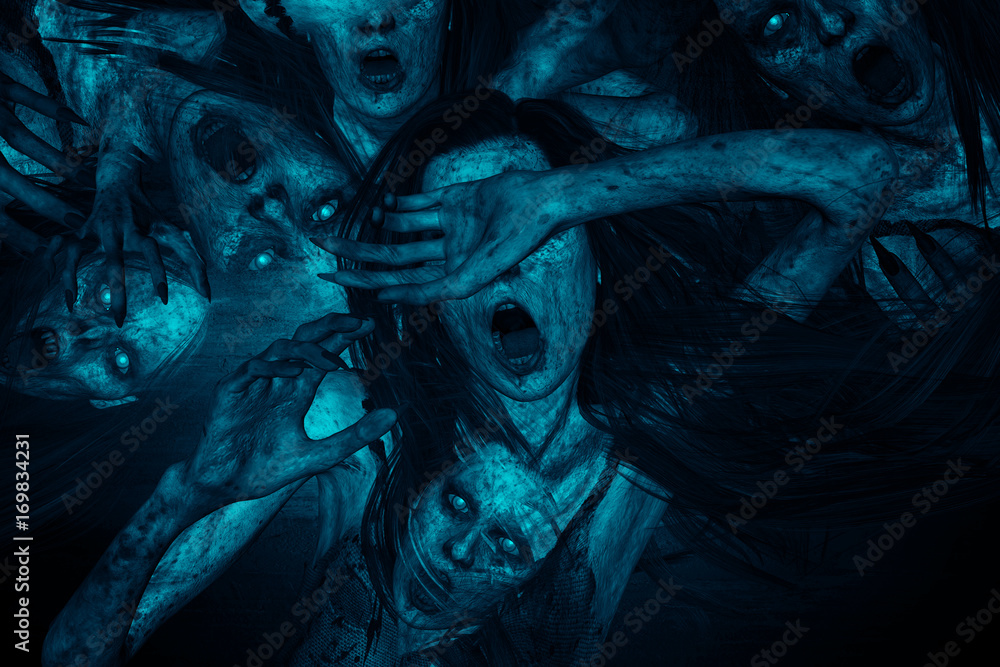 Fototapeta 3d illustration of scary ghost woman moaning in the dark,Horror background,mixed media