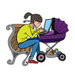 yong working mother sitting on bench and using laptop at stroller, isolated vector image