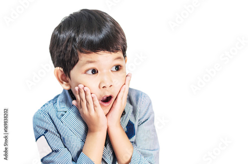 Fotomural Asian boy is making expression isolated over white
