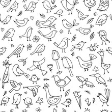 Birds Family, Seamless Pattern...