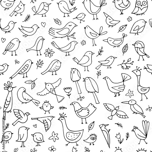 Cotton fabric Birds family, seamless pattern for your design