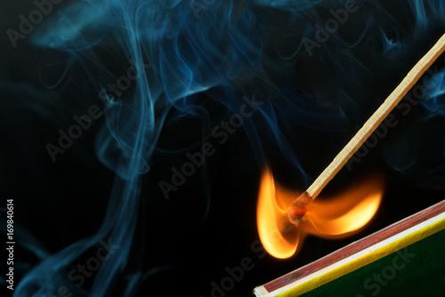 Striking a match and make a fire Canvas Print