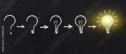 Photo  Black and white light bulb using doodle art on chalkboard background