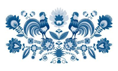 Polski folklor - wzór w wersji w odcieniach błękitu, niebieski