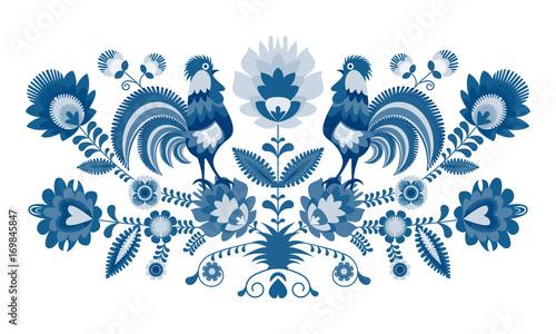 Polski folklor - wzór w wersji w odcieniach błękitu, niebieski - fototapety na wymiar