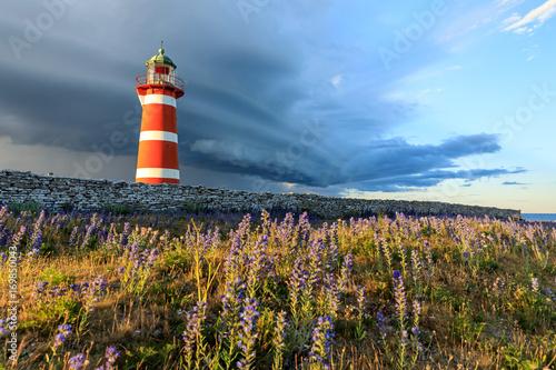Foto op Aluminium Vuurtoren Närsholm Lighthouse, Gotland, Sweden