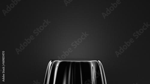 Obraz na płótnie Czarne tło z cokołem. 3d ilustracja, 3d rendering.