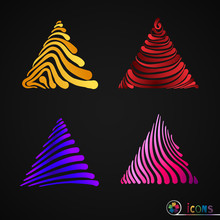 Set Of Multicolor Triangle Dra...