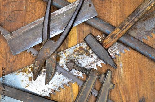 Fototapety, obrazy: work tools on wood close up photo