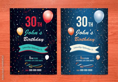 Birthday Card Layout With Balloon Illustrations 1 Acheter Ce