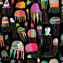 Funny Jellyfishes, Seamless Pa...