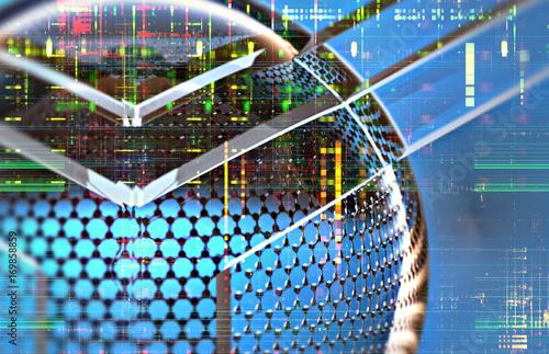 Obraz na plátně  Closeup on a nano structure with electronic background