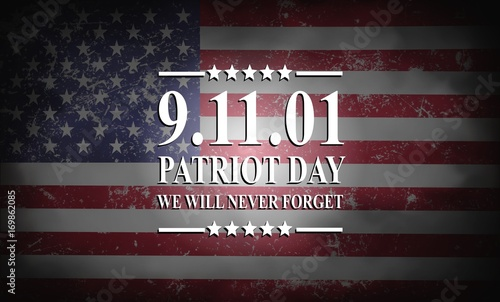Fotografia  Patriot Day of USA background on american flag