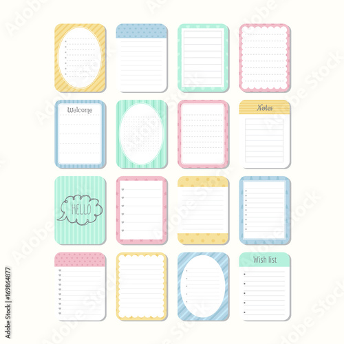 photo about Note Paper Template named Sheets of paper. Template notepad. Selection of distinctive