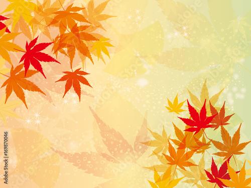 紅葉秋のイメージの背景 オーナメント 横型モミジのイラスト