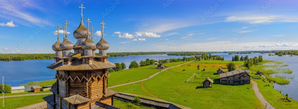 Fototapety, obrazy: Panorama of Kizhi Island from the bell tower. In the foreground Orthodox Church of the Intercession of the Virgin Mary in Kizhi Pogost. Kizhi island, Onega lake, Karelia, Russia.