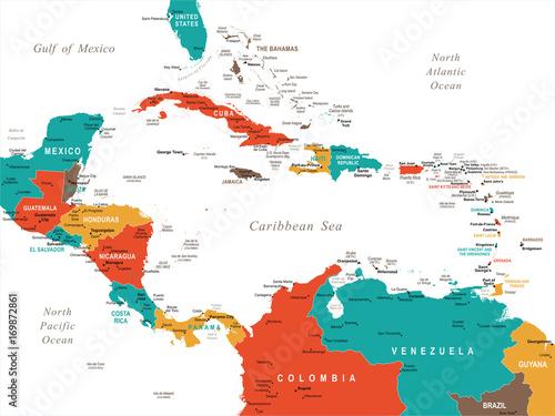 Central America Map - Vector Illustration Wallpaper Mural