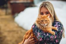 Girl Cat Red Winter