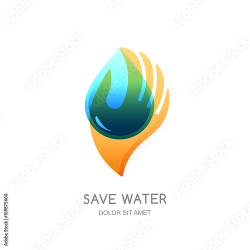 Save Water Vector Logo Design Template Abstract Transparent Water