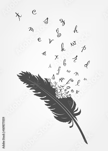 Cuadros en Lienzo old feather with flying alphabet letters