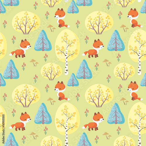 Cotton fabric Baby colorful seamless pattern with the image of a cute woodland animals. Vector background.