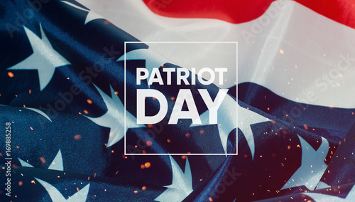 Fotografia  Patriot day banner, the American flag in the background
