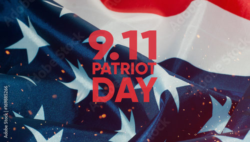 Photo  Patriot day banner, the American flag in the background