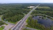 Highway round road junction, aerial view video clip Ultra HD 4K 3840x2160