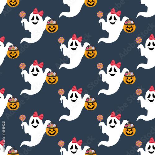 Cotton fabric Halloween ghost pattern
