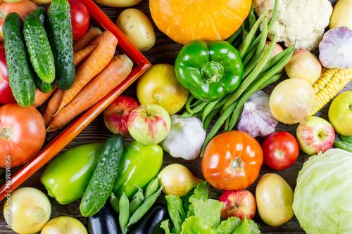Fotobehang Set of different fresh raw colorful vegetables, autumn harvest
