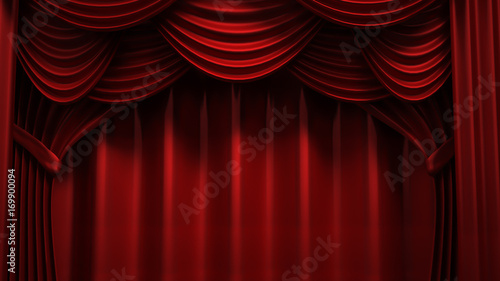 Aluminium Prints Theater Beautiful, abstract background with curtain fabric, drape, pedestal, banner, frame. 3d illustration, 3d rendering.