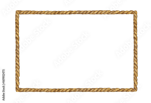 Photographie  Watercolor painting of Brown Rope frame on white background