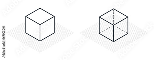 Carta da parati Isometric drawing a thirty degreesangle is applied to its sides