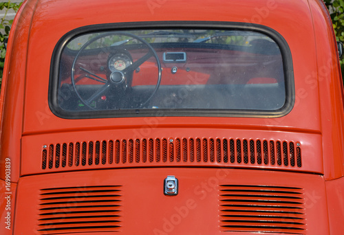 red fiat 500 from behind close up photo Wallpaper Mural
