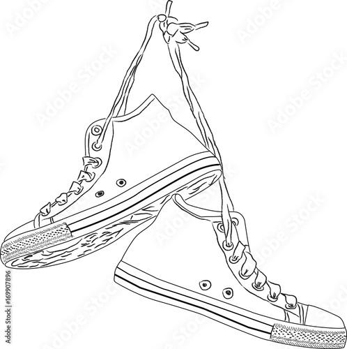 Fotografia  Classic hand drawn vintage sneakers