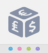 Currency Exchange Cube - Granite Icons. A professional, pixel-perfect icon designed on a 32x32 pixel grid and redesigned on a 16x16 pixel grid for very small sizes.