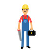 Male construction worker character standing with toolbox and saw cartoon vector Illustration