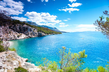 View Of Adriatic Sea And Quiet Majestic Bay In Dalmatia