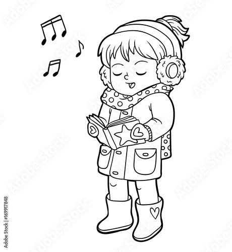 Coloring book, Girl singing a Christmas song – kaufen Sie diese ...