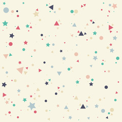 Fototapeta Do pokoju dziecka Abstract pattern with pastels colorful blue, gray, pink, orange small circles, stars and triangles on yellow background. Infinity geometric. Vector