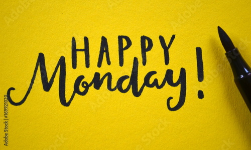 Happy Monday Hand Lettered On Yellow Background Buy This Stock