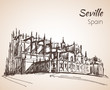 Sketch of spain city Seville. The Cathedral of Saint Mary of the See
