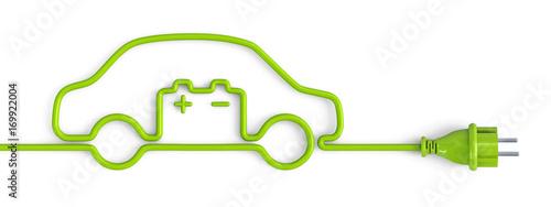 Green power plug car with car battery #169922004
