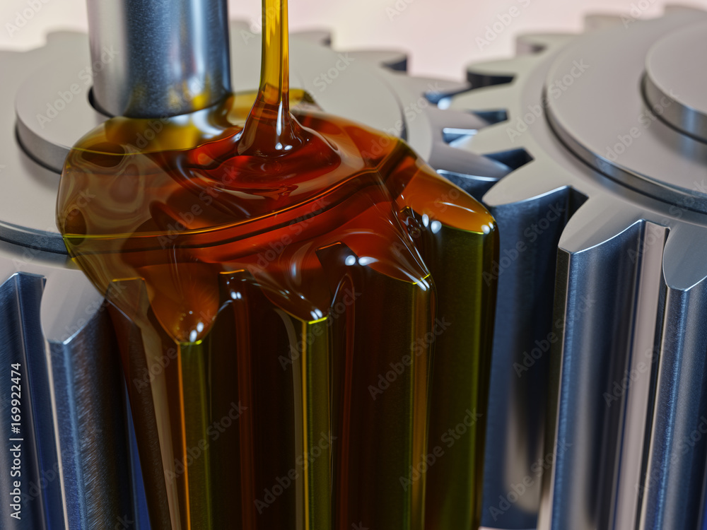 Fototapety, obrazy: Pouring Lube on Gearwheels 3d Illustration