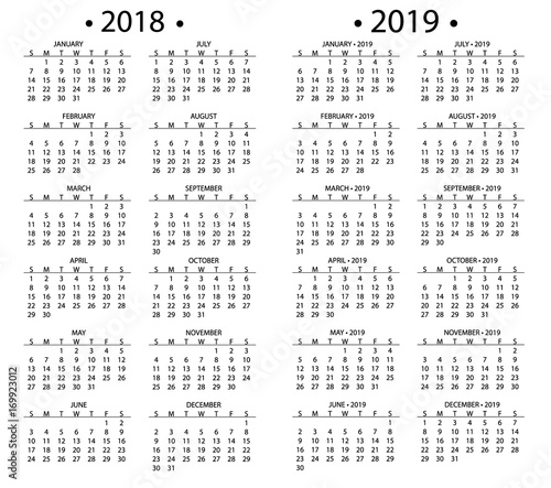 Simple calendar for 2018 and 2019, 2020 years template date day ...