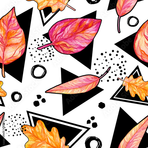 Seamless Pattern of Black Triangles and Pink Leaves - 169923865