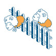 sheep animal couple jumping a wooden fence color section silhouette on white background