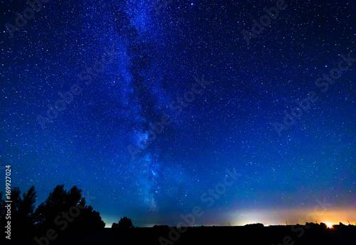 Plakat Droga mleczna i gwiazdy nad lasem.